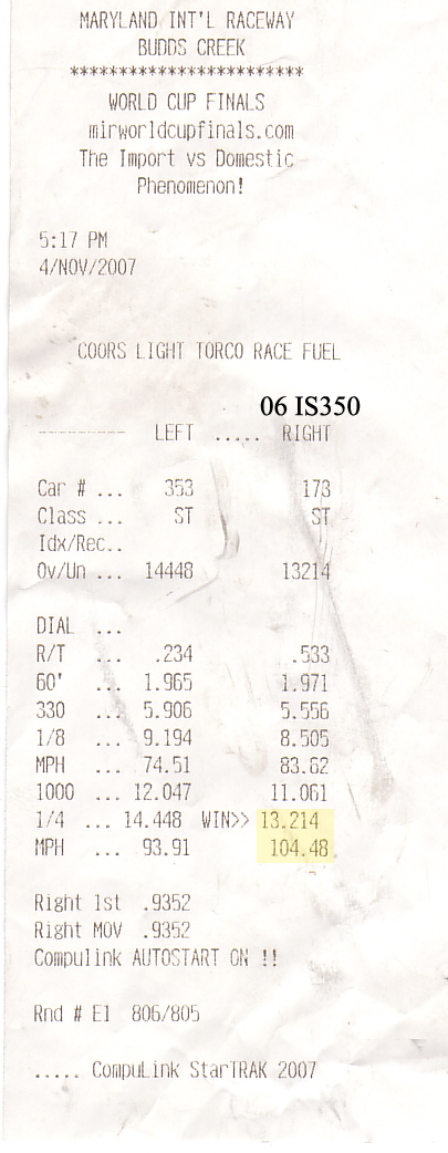Lexus IS350 Timeslip Scan