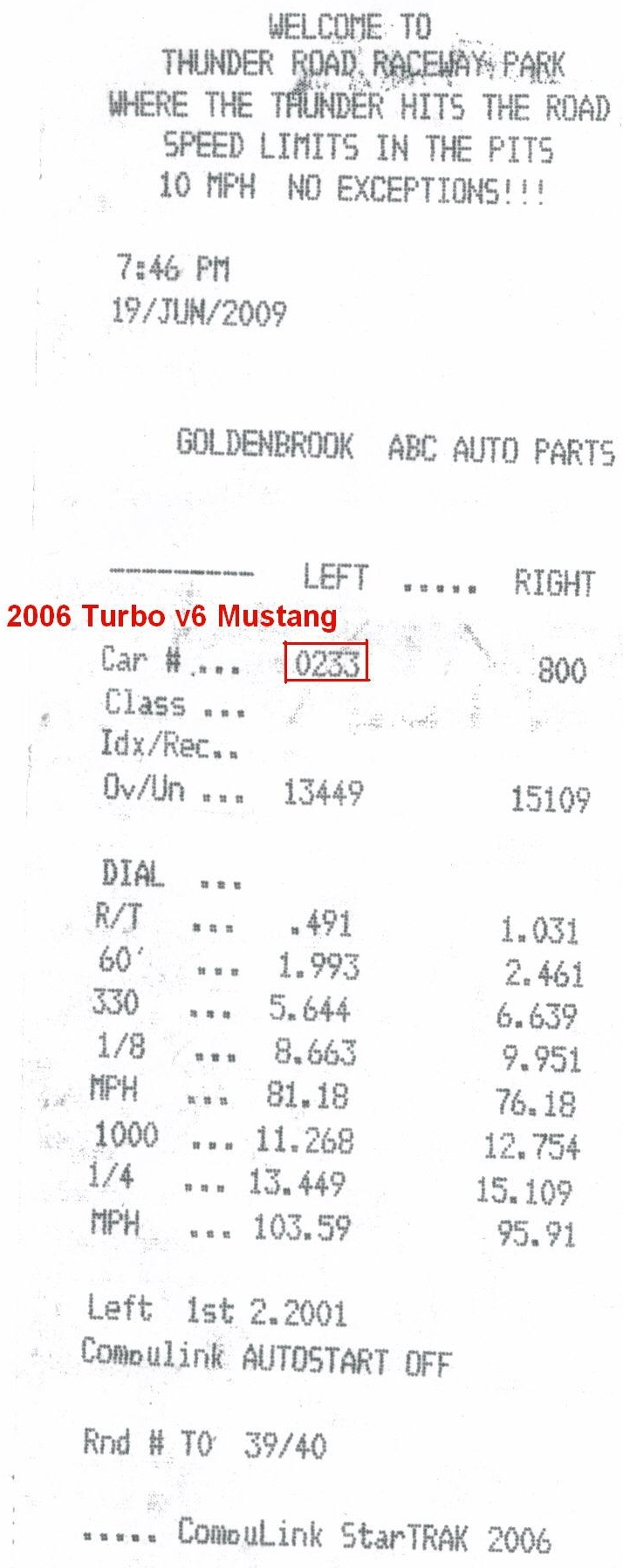2006 Ford Mustang Pony Package Timeslip Scan