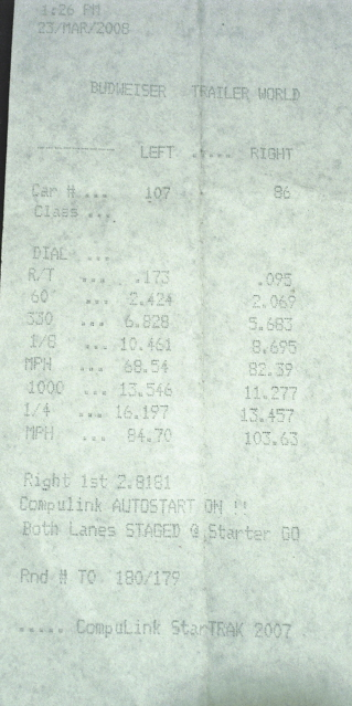 2006 Ford Mustang Roush Stage 1 Timeslip Scan