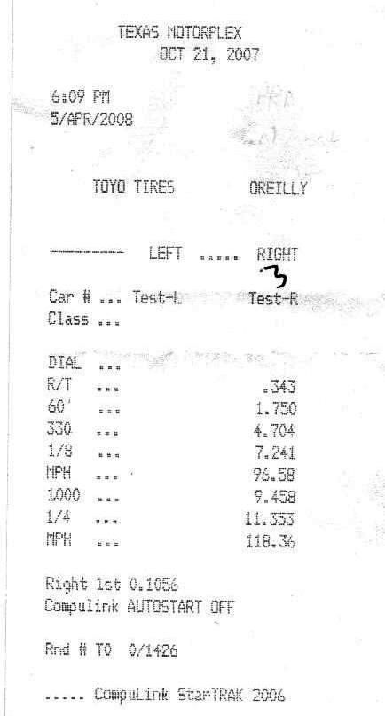 Chevrolet TrailBlazer Timeslip Scan