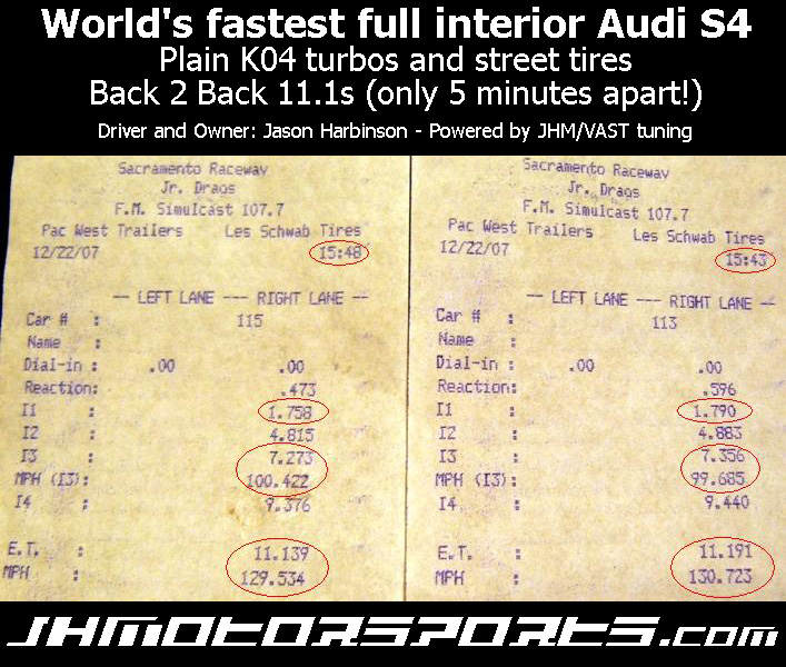 2001  Audi S4 JHM Stage 3 Timeslip Scan