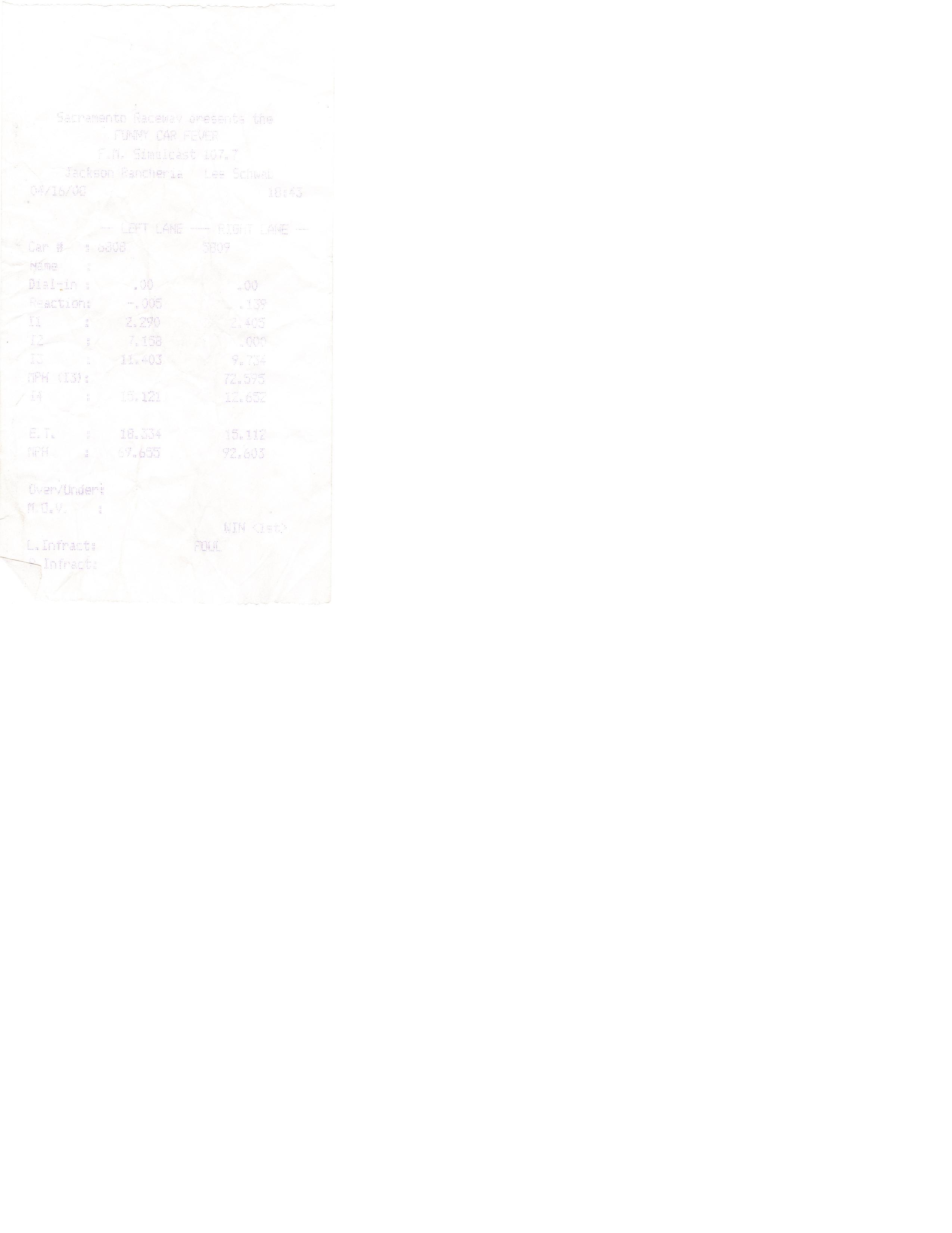 Acura Integra Timeslip Scan