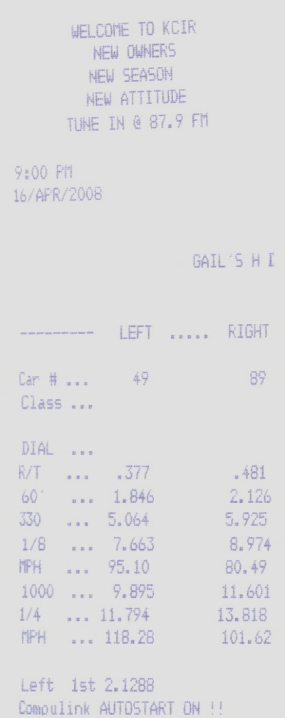 2007 Ford Mustang GT Timeslip Scan