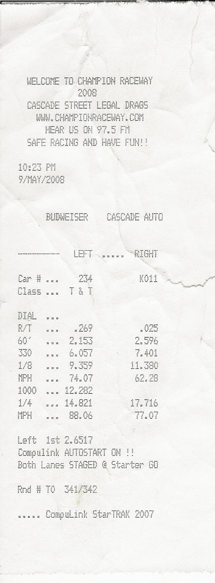 Ford F100 Timeslip Scan