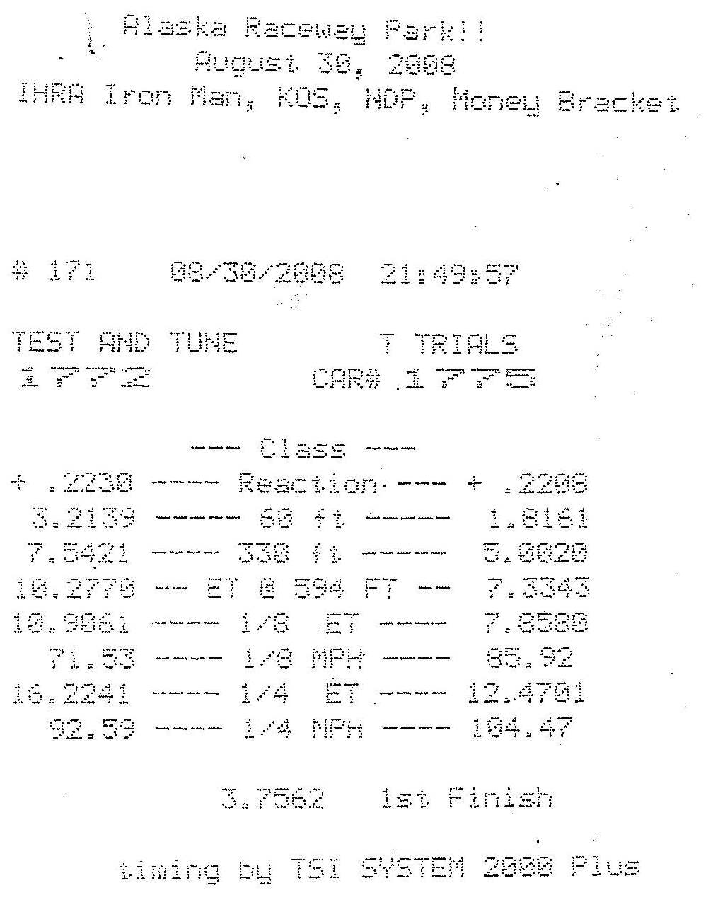 1978  Ford Pinto Electric Timeslip Scan