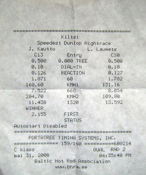 Audi RS-6 Timeslip Scan