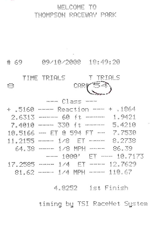 2005 Chrysler Crossfire SRT-6 Timeslip Scan