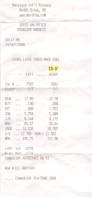 2008  Lexus IS-F  Timeslip Scan