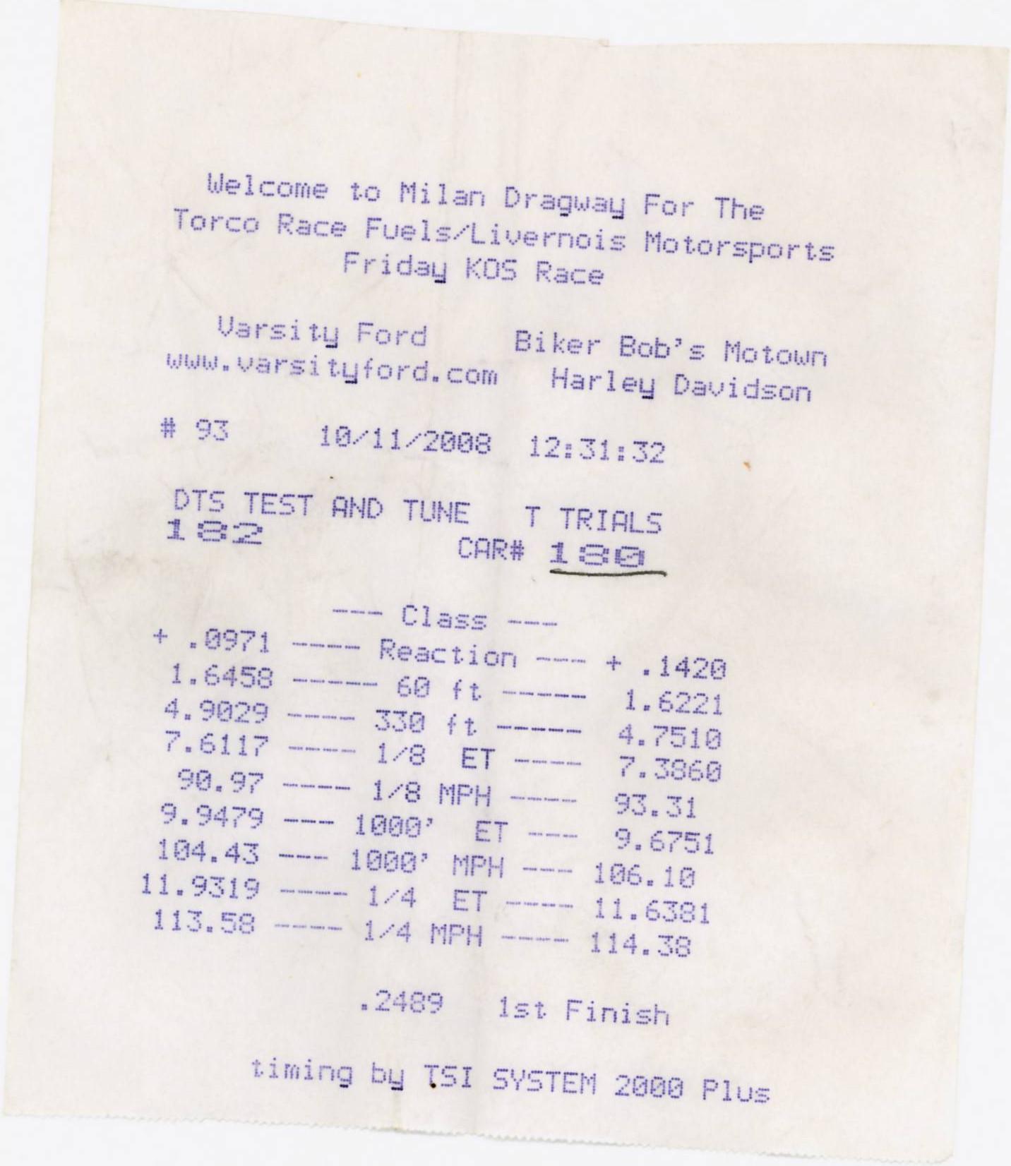 Oldsmobile 442 Timeslip Scan