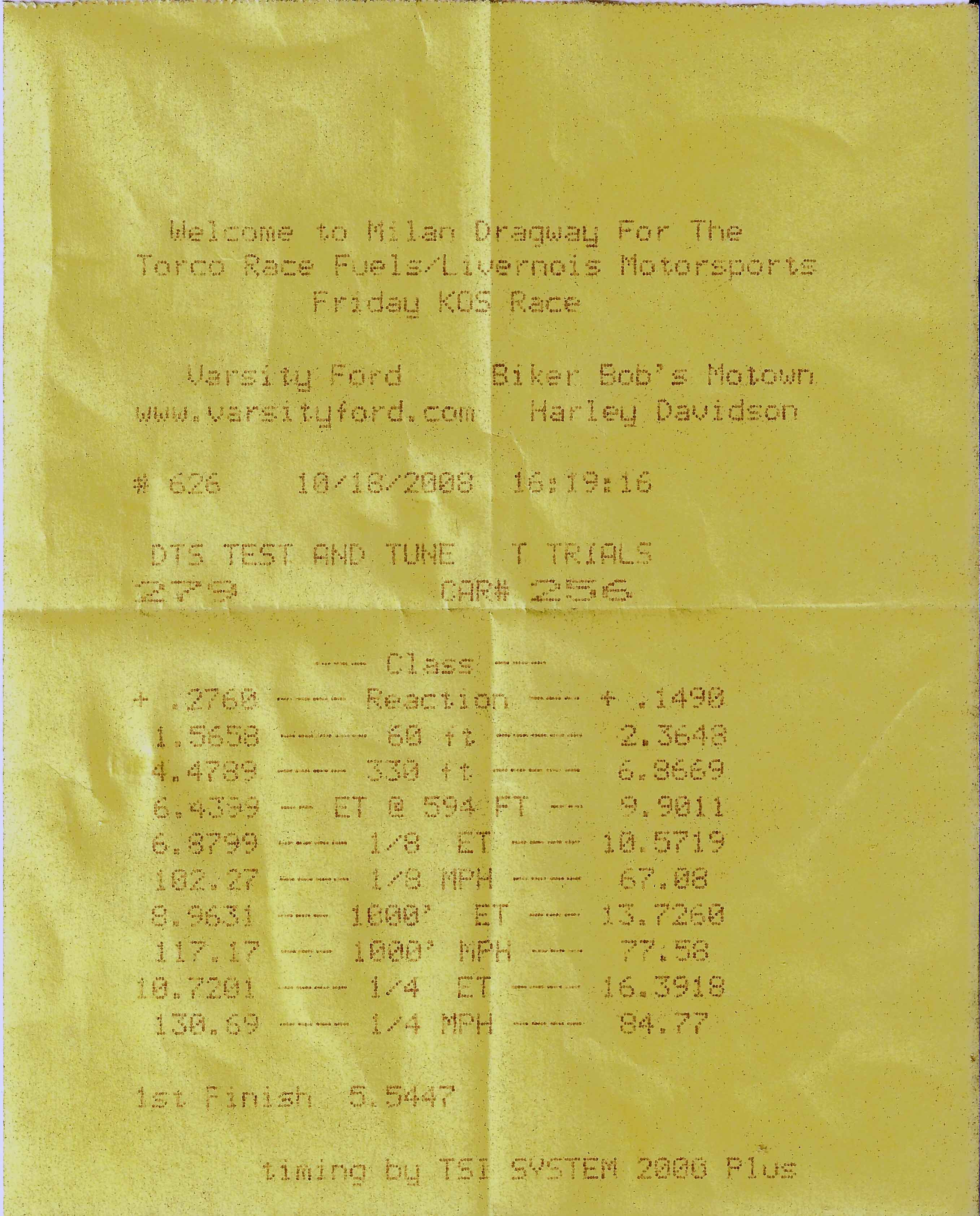 Lincoln Town Car Timeslip Scan