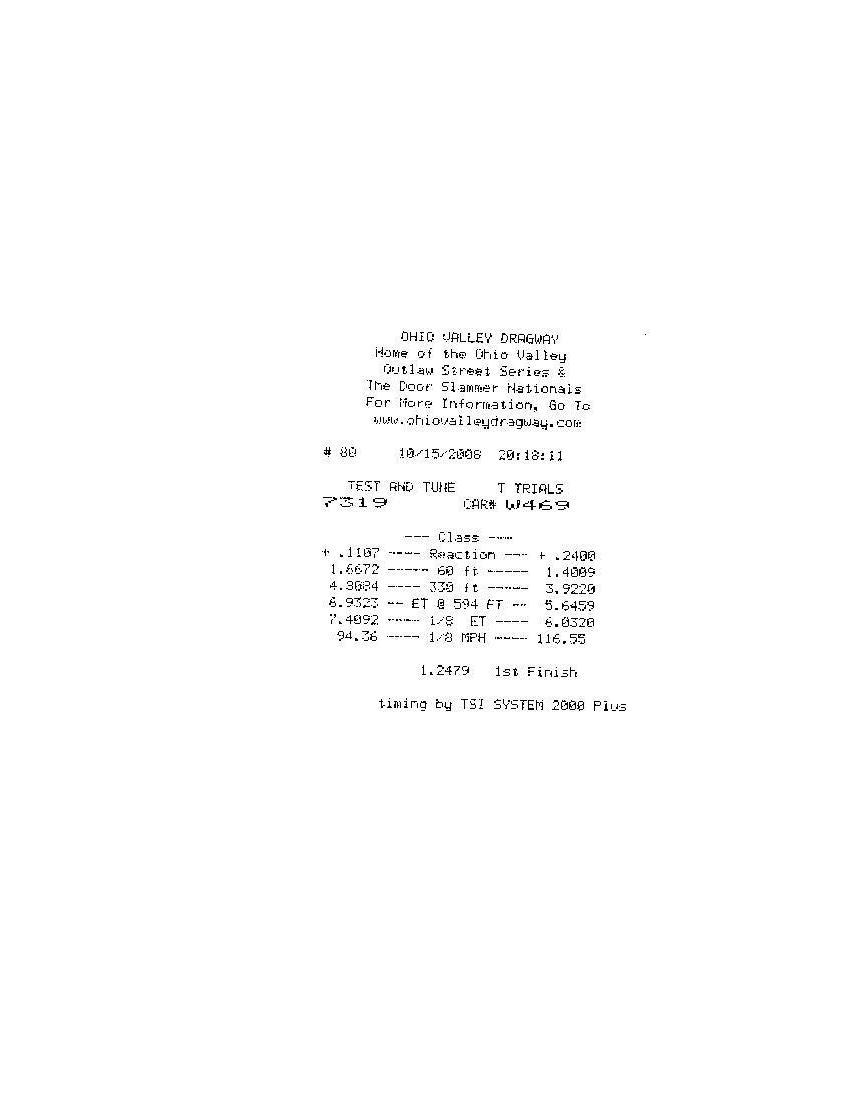 Chevrolet Vega Timeslip Scan