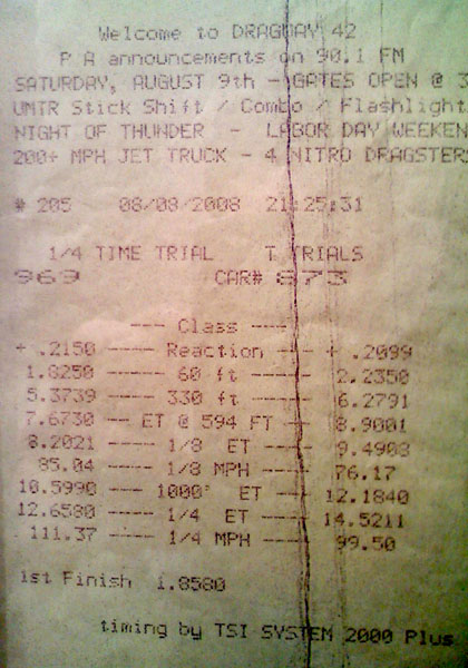 Subaru Impreza Timeslip Scan