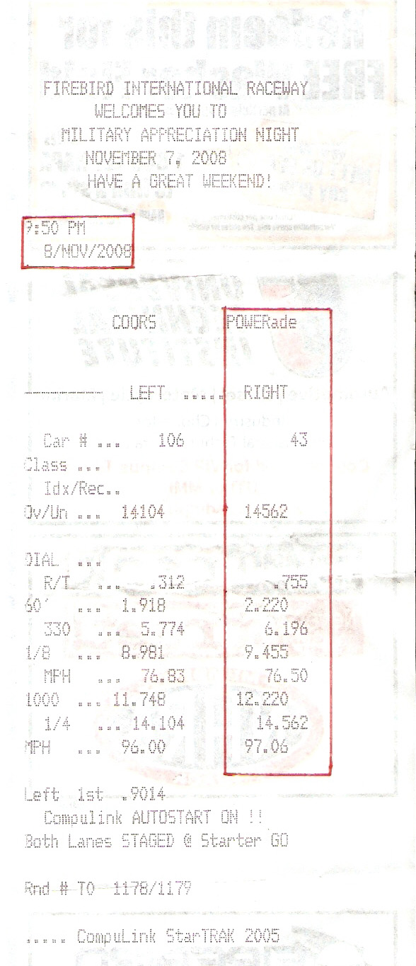 2003  Nissan 350Z Track Edition Timeslip Scan