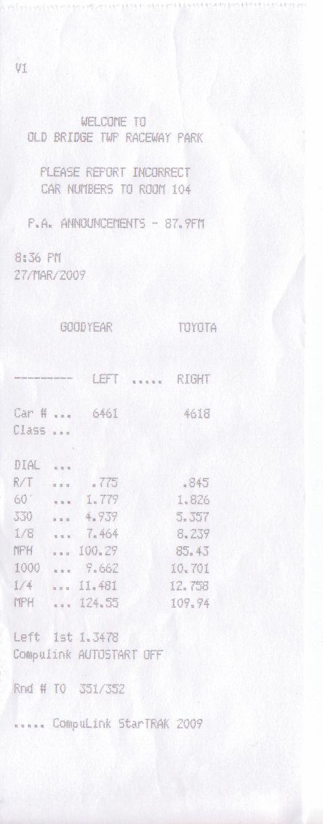 2007 Ford Mustang Shelby-GT500 Coupe Timeslip Scan