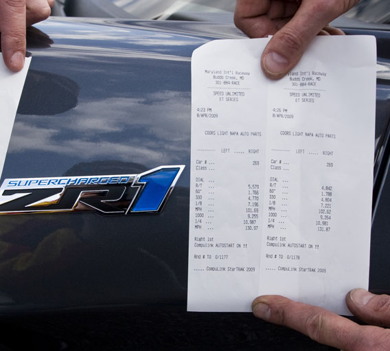 2009 Chevrolet Corvette ZR1  Timeslip Scan