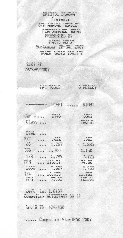 Dodge Shelby Charger Timeslip Scan
