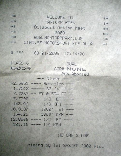 Audi RS-6 Timeslip Scan