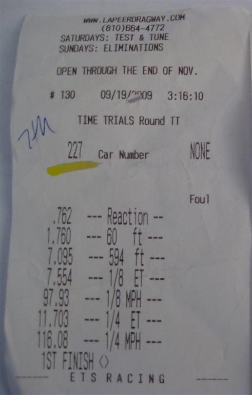 Pontiac Firebird Timeslip Scan