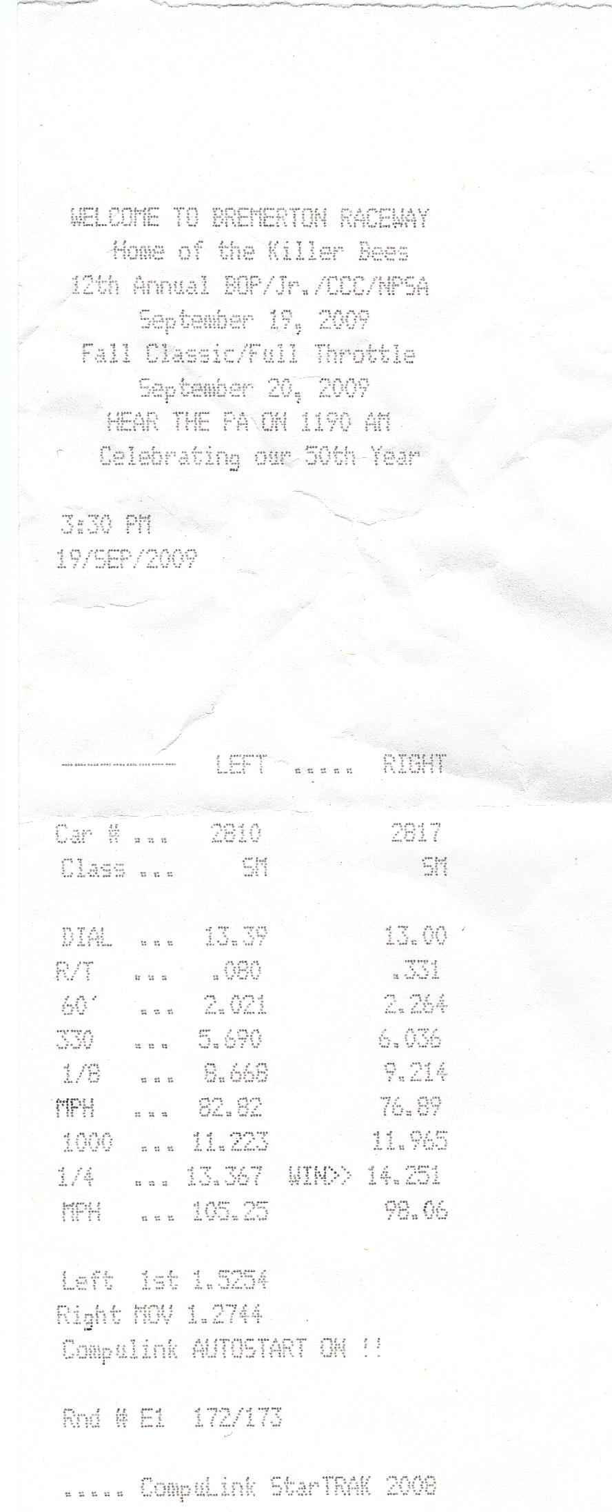 2009 Pontiac G8 GT Superchips Tune Timeslip Scan