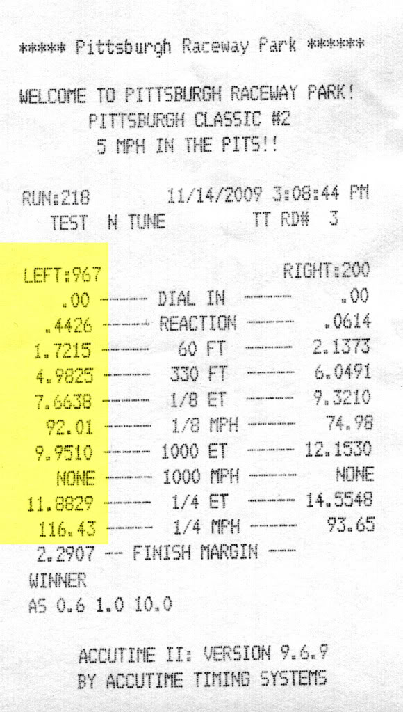 Chrysler Crossfire Timeslip Scan