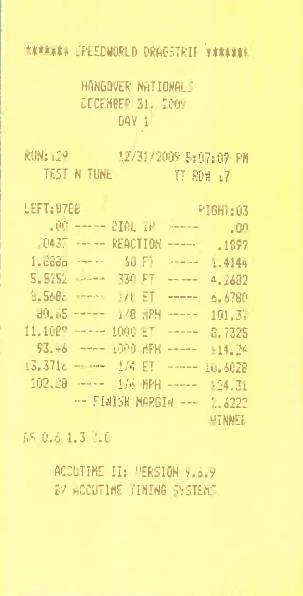 Dodge Challenger Timeslip Scan