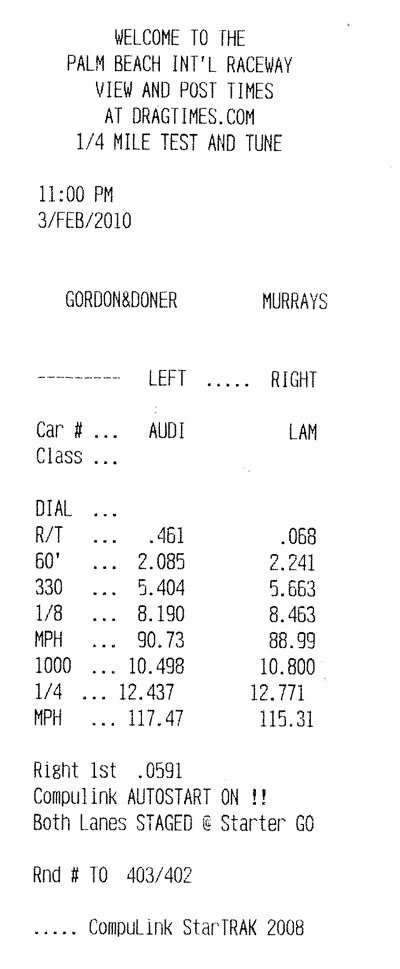 Audi R8 Timeslip Scan