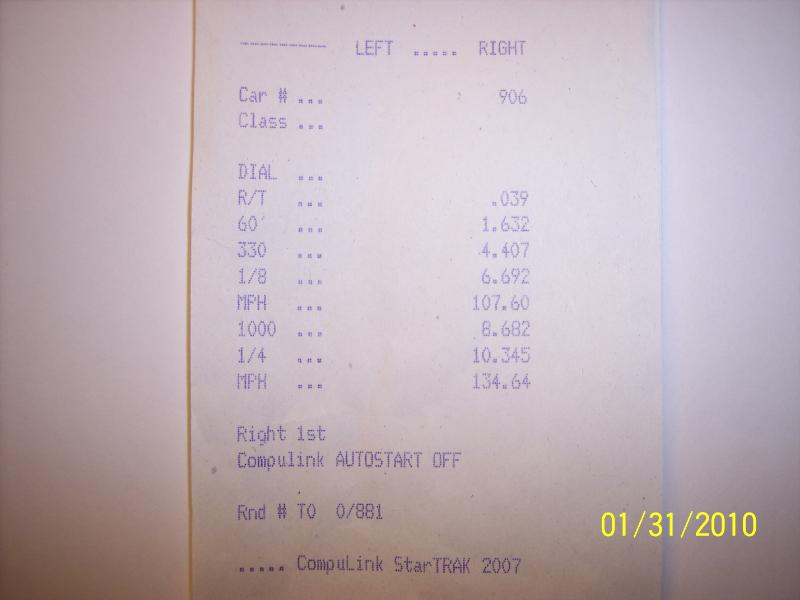 1998  Chevrolet Corvette Coupe Timeslip Scan