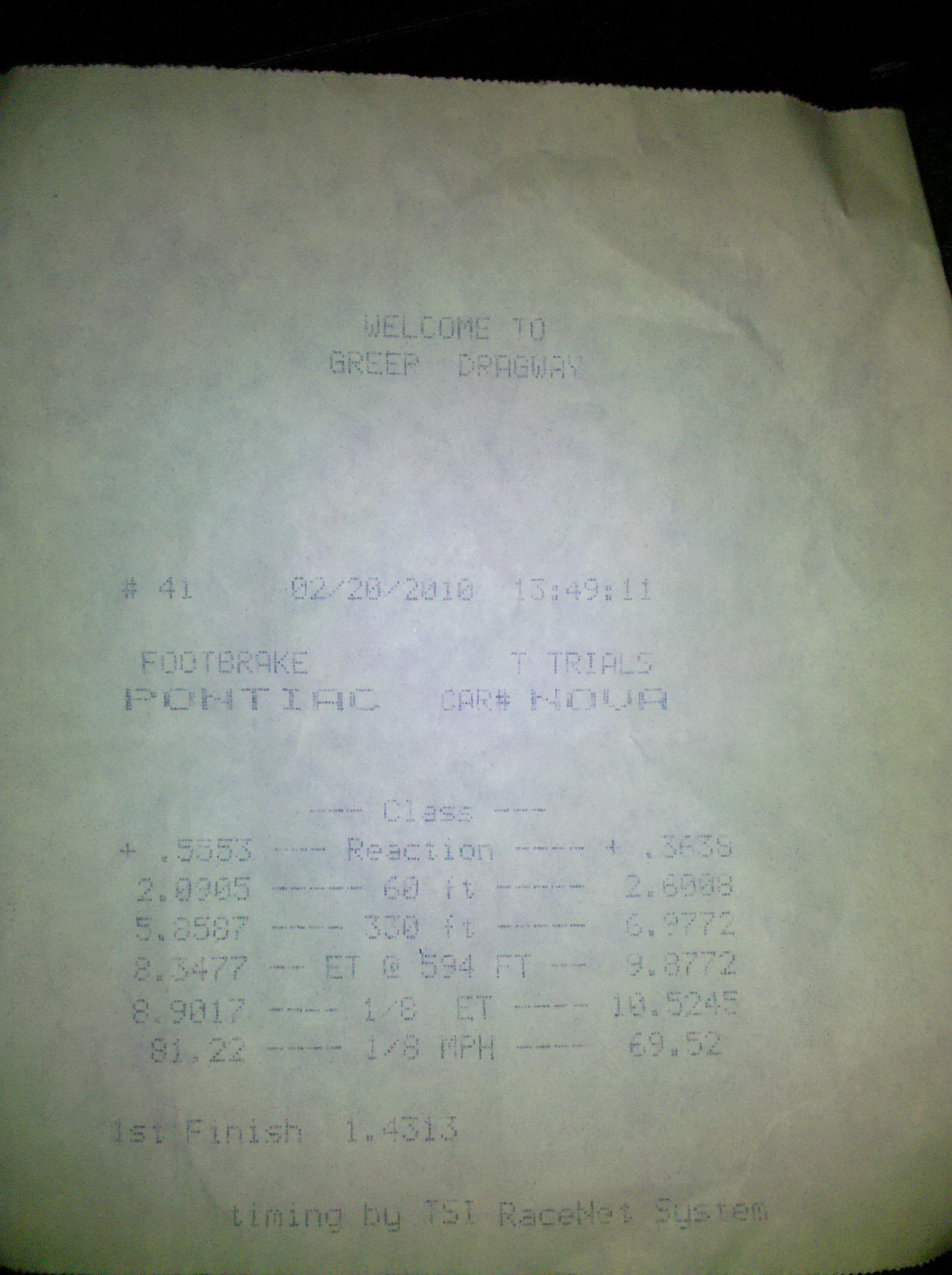 Pontiac G8 Timeslip Scan