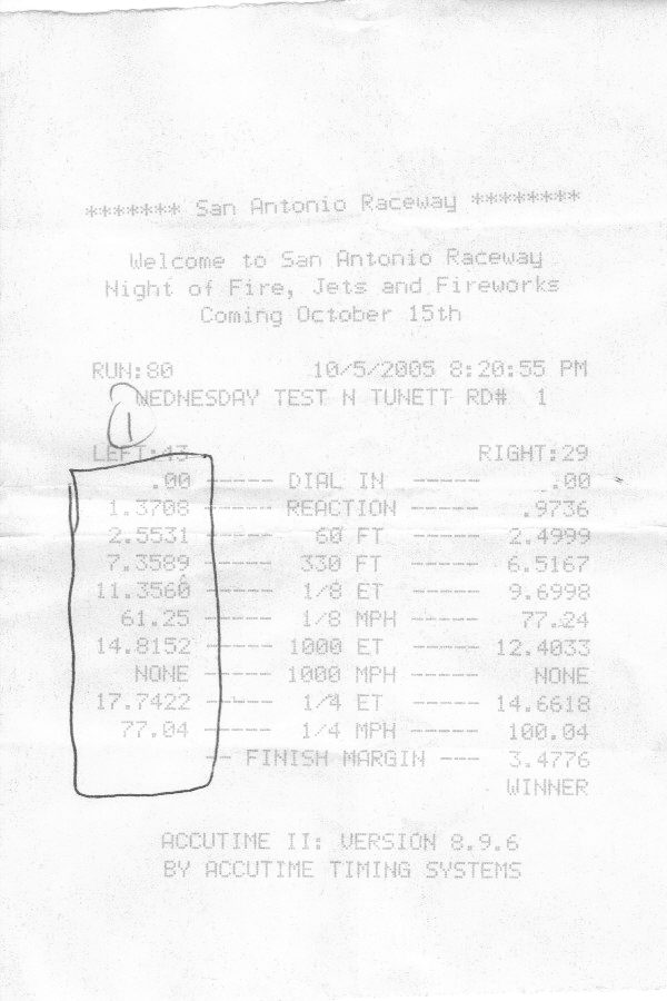 1989 Oldsmobile Ciera Base Timeslip Scan