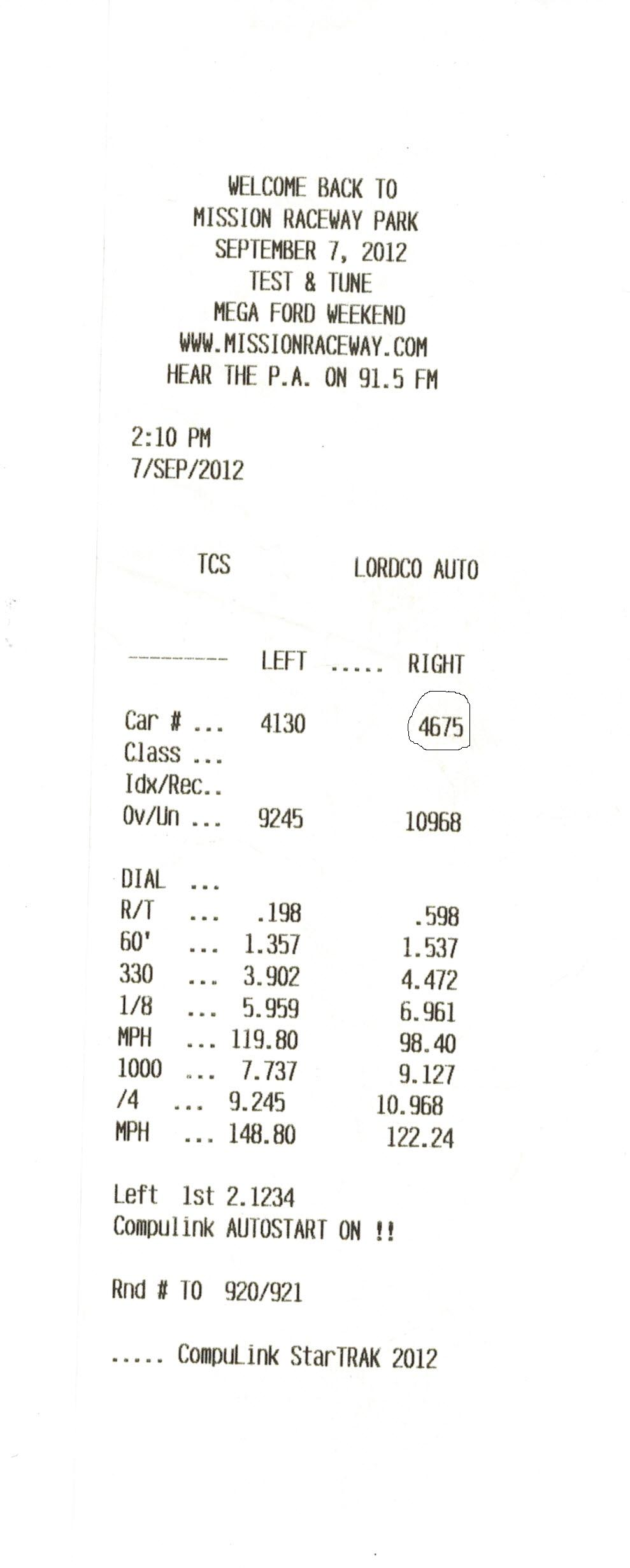 1979 Ford Mustang LX Timeslip Scan