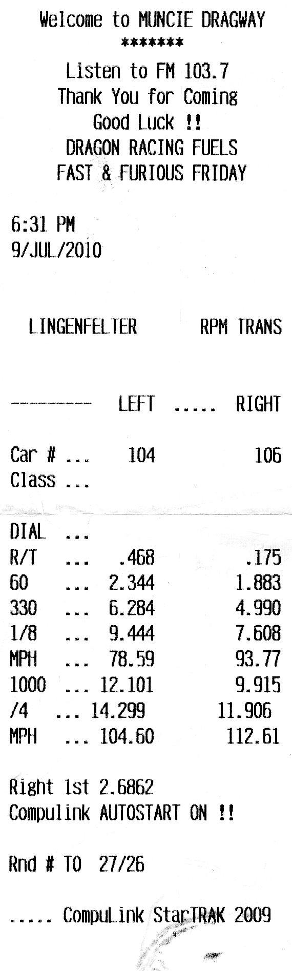 Honda Sabre Timeslip Scan
