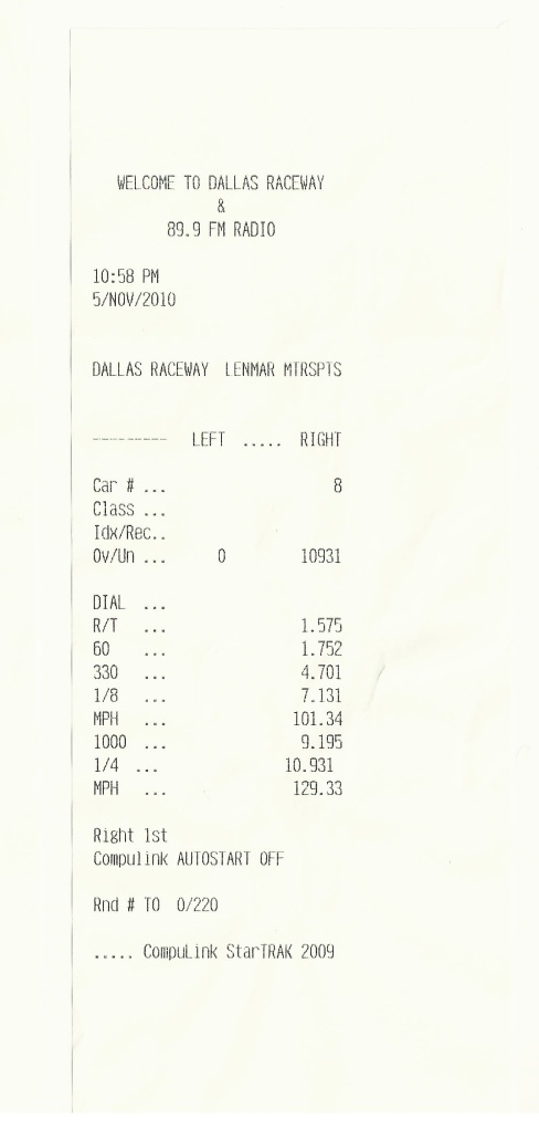 2008 Dodge Viper  Timeslip Scan