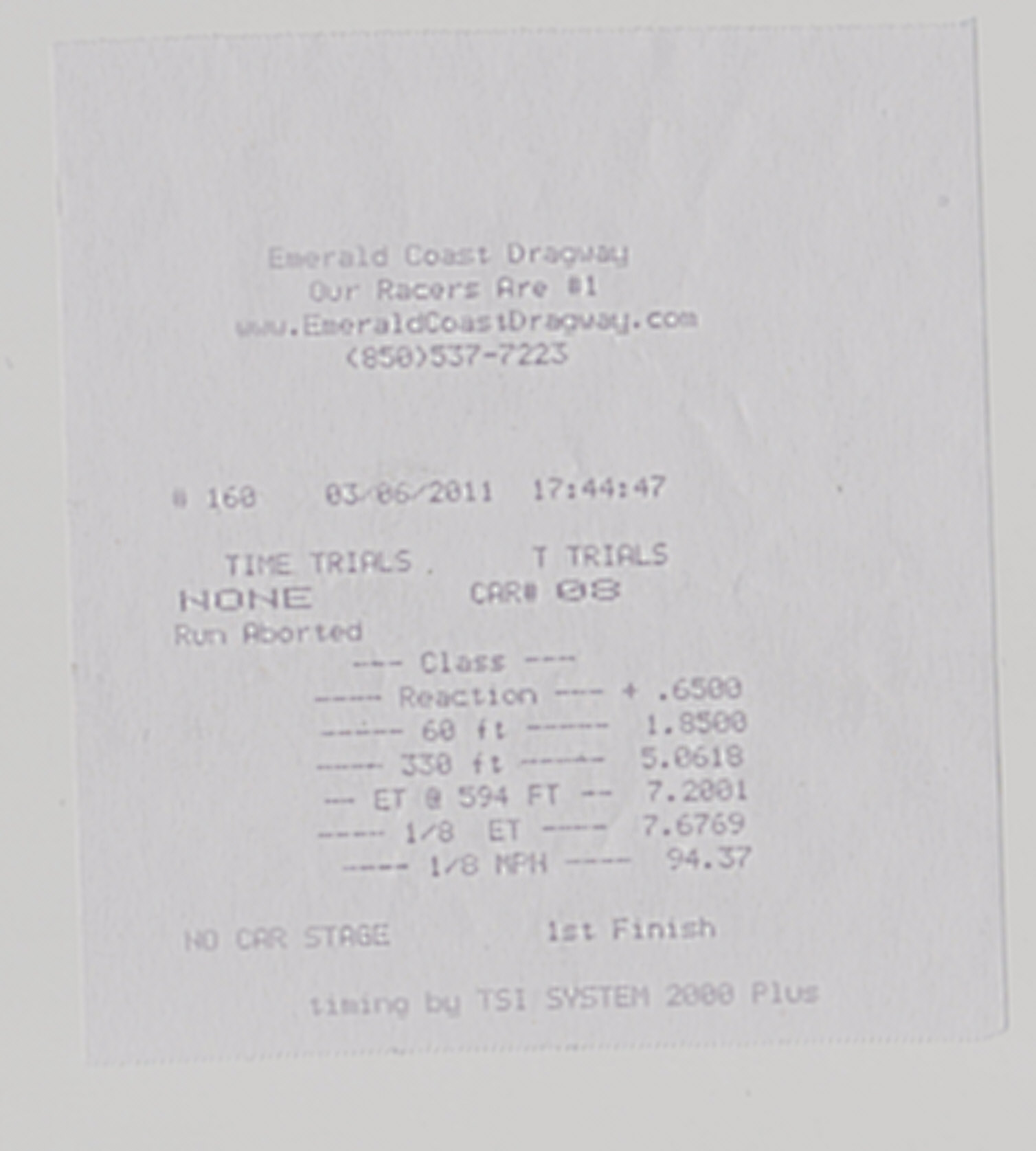 Chevrolet Corvette Timeslip Scan