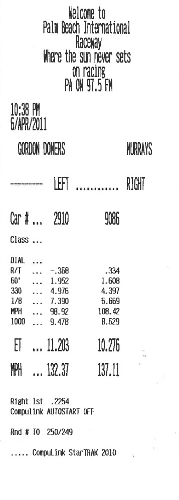 2005  Ford GT Heffner Pulley and Tune Timeslip Scan