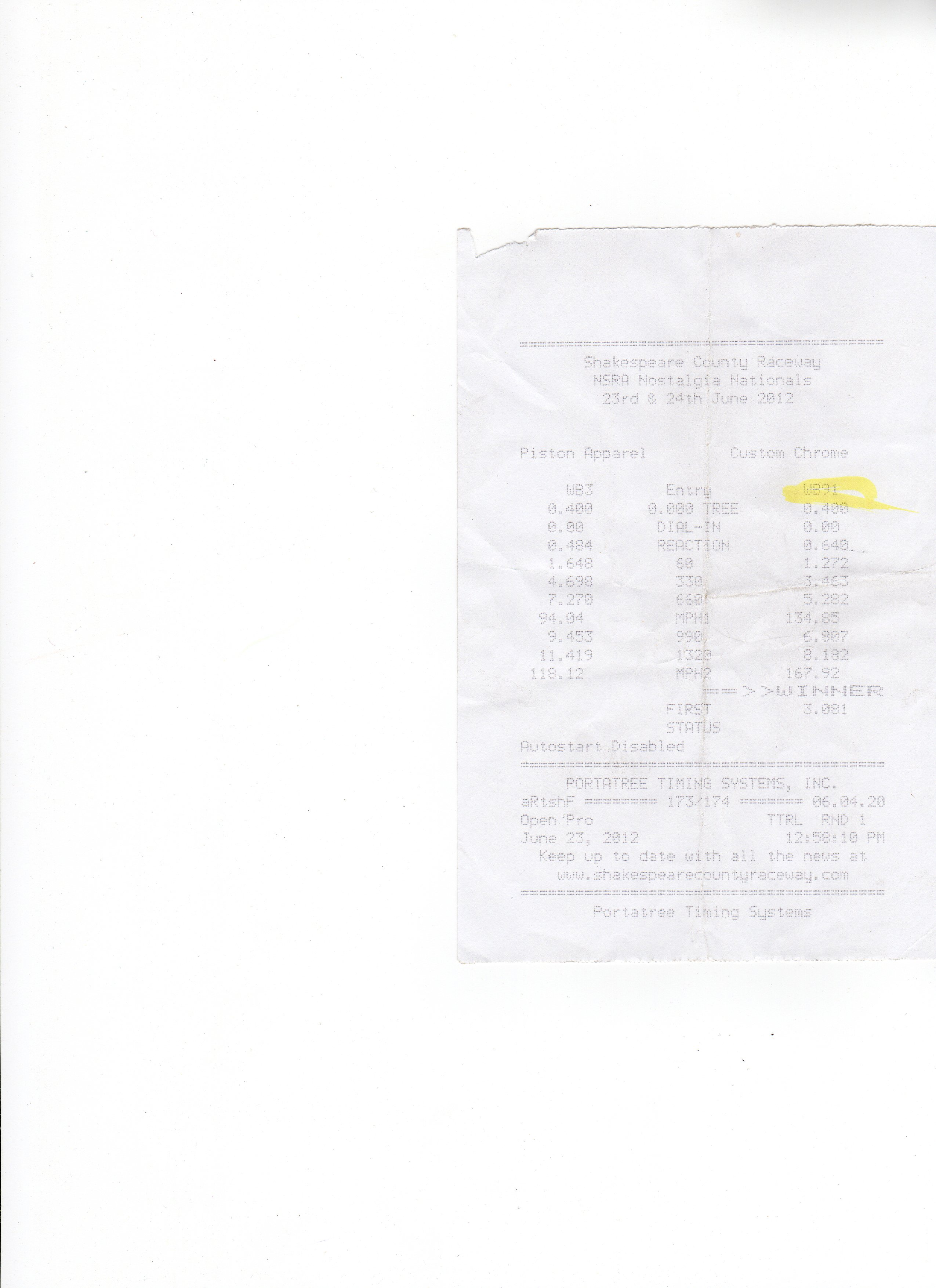 Dragster Front Engine Timeslip Scan