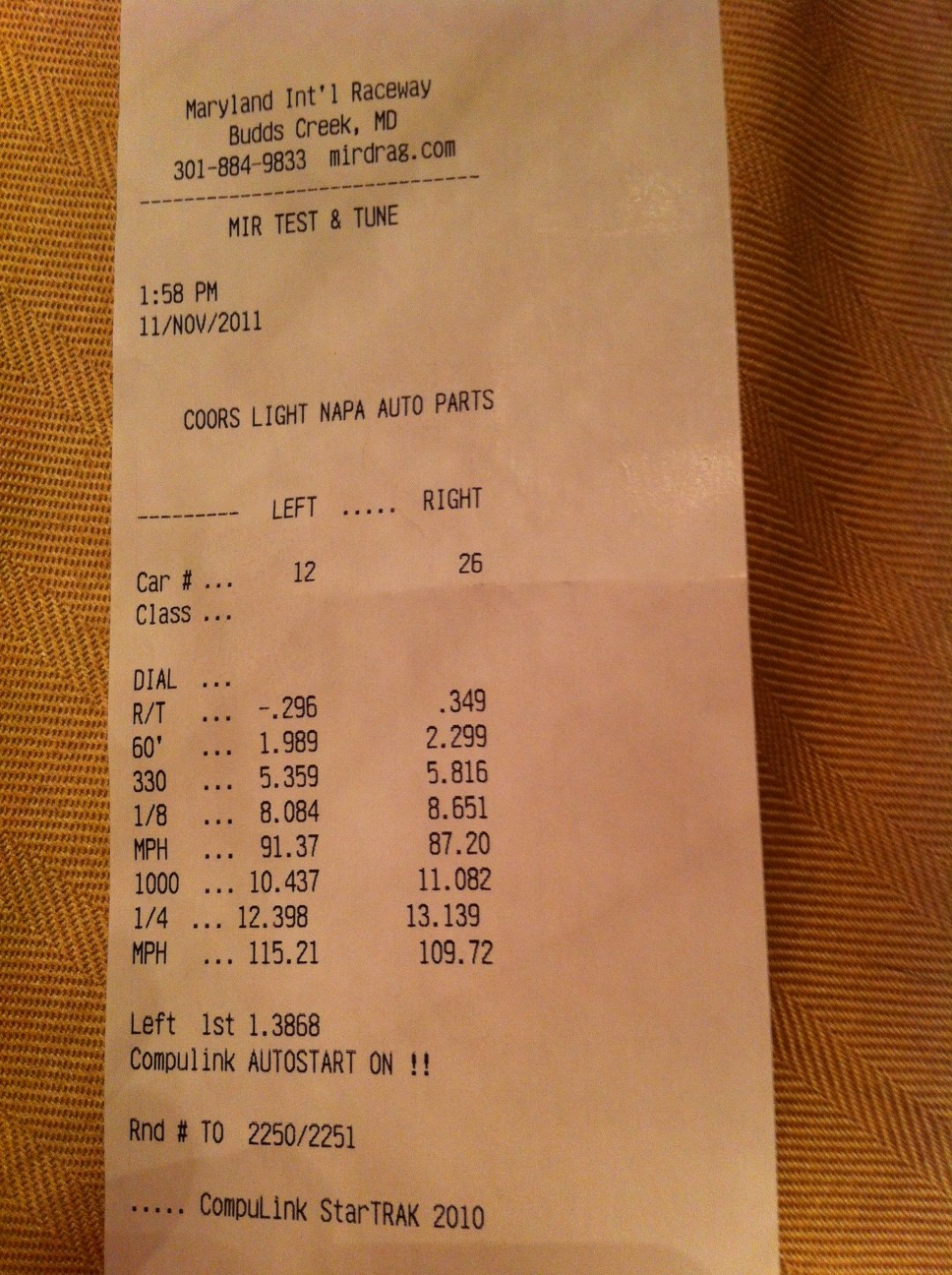 Pontiac G8 Timeslip Scan