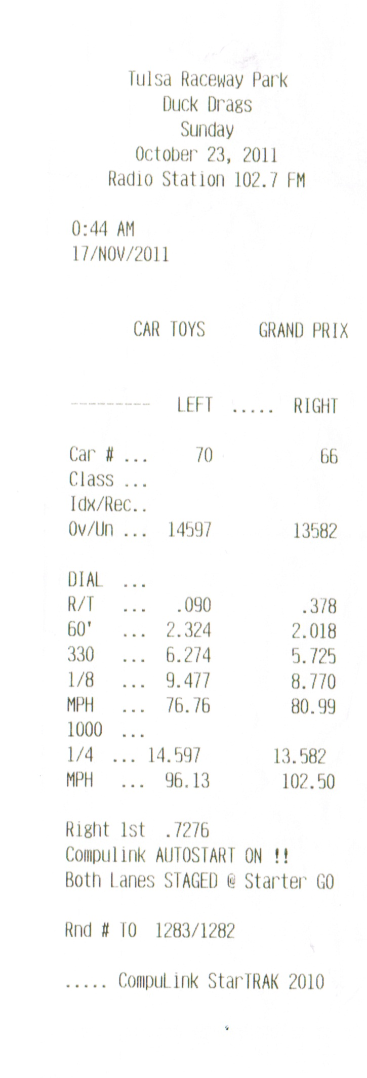 Infiniti G35 Timeslip Scan
