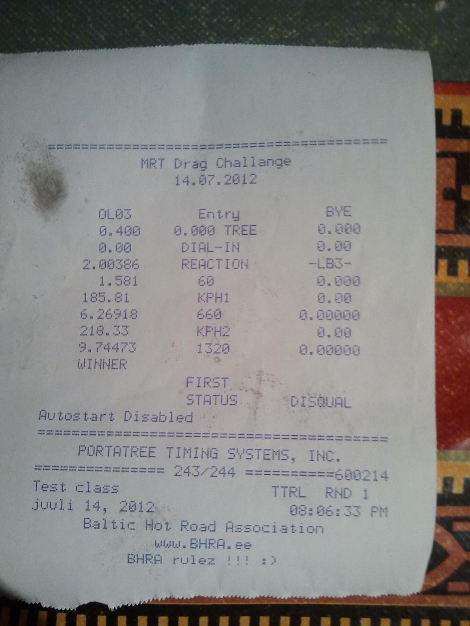 Pontiac Fiero Timeslip Scan