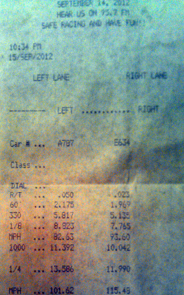 1991 Honda Civic CRX dx Timeslip Scan
