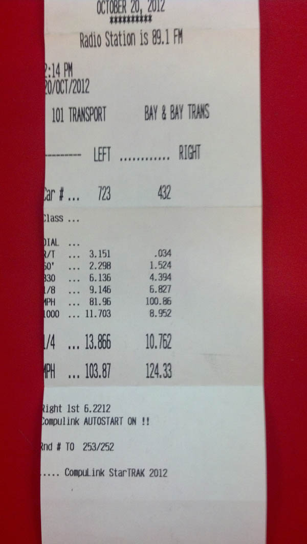 2006 Victory Red Chevrolet Cobalt SS/SC Timeslip Scan