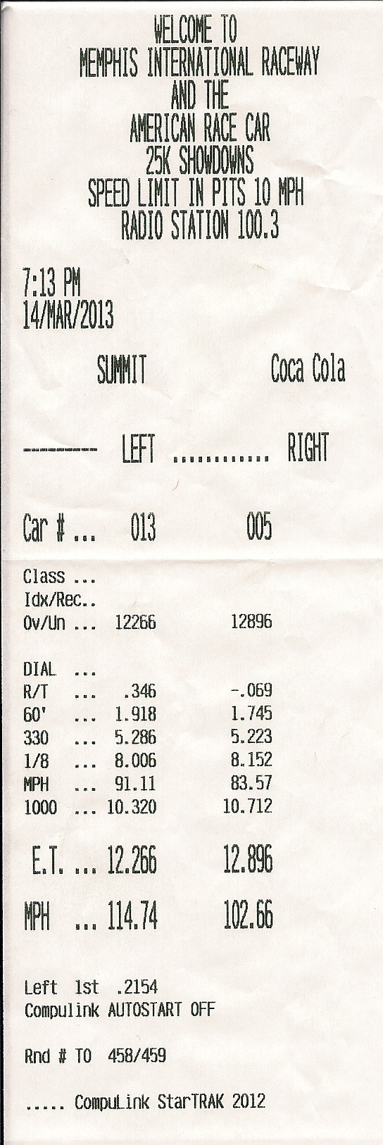 2006 White Chevrolet Corvette LS2 Timeslip Scan