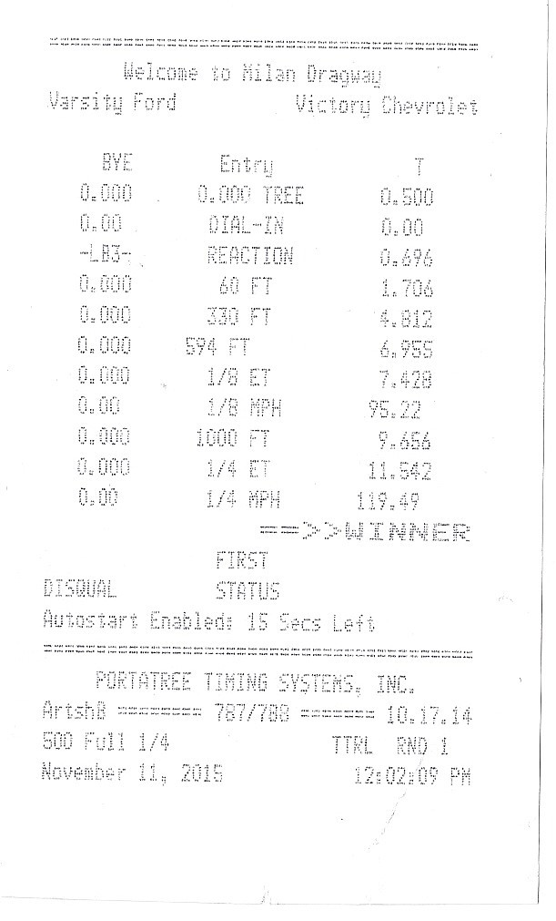 2010 White / Black Ford Taurus SHO Timeslip Scan
