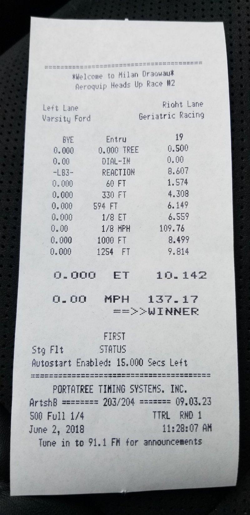 Dodge Challenger Demon Timeslip Scan