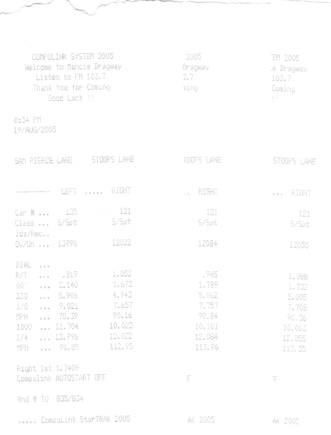 1993 Eagle Talon TSI AWD Timeslip Scan
