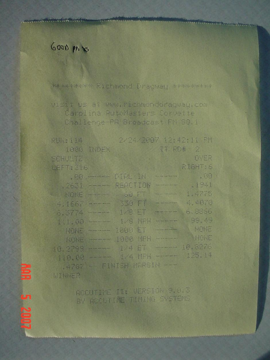 1997  Chevrolet Corvette Coupe Timeslip Scan