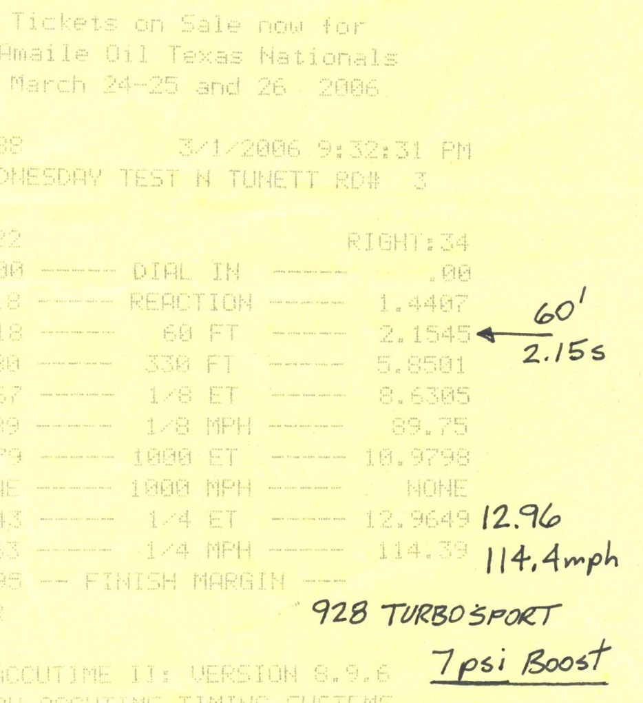 1986  Porsche 928 turbocharged Timeslip Scan