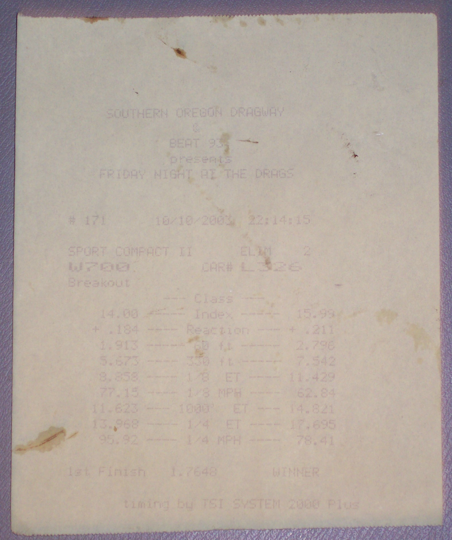 1988  Ford Thunderbird Turbo Coupe Timeslip Scan