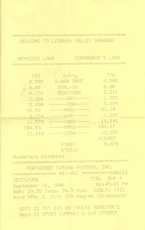 1995  Chevrolet Beretta Base Timeslip Scan
