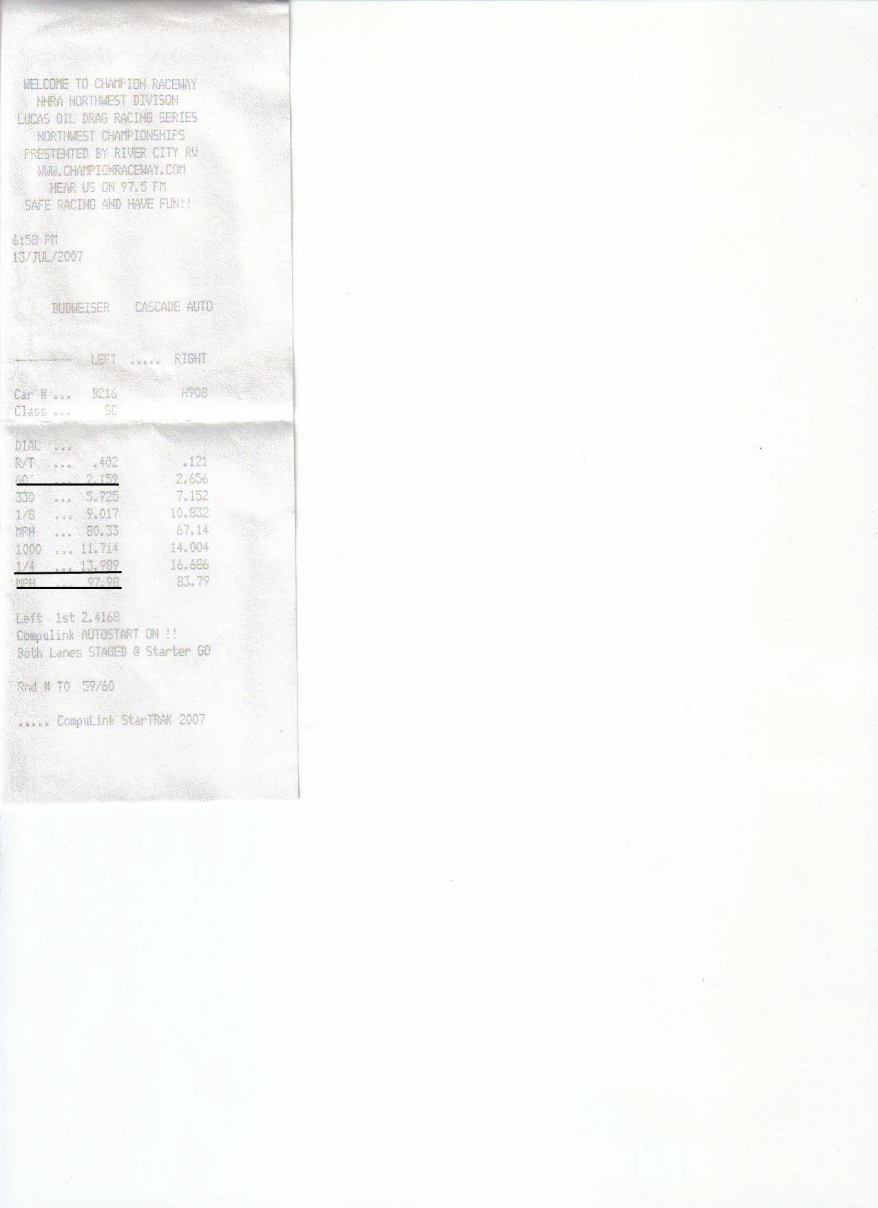 1991  Honda Civic Hatch on Nitrous Express Timeslip Scan