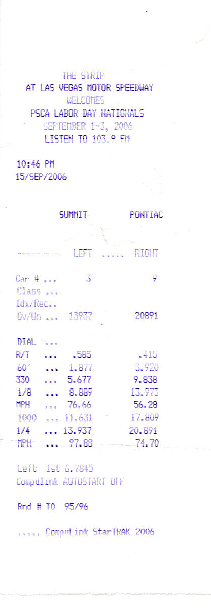 1986 Ford Mustang GT Timeslip Scan